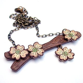 Out on A Limb Series - Tree Branch with Cream Dogwood Flower Necklace - Woodland Woodgrain Faux Bois