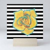 Yellow and Turquoise Rose on Stripes Mini Art Print by drawingsbylam