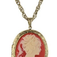 1928 Jewelry Vintage-Inspired Cameo Necklace, 28""