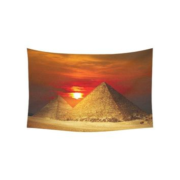CHARMHOME City Landscape Wall Art Home Decor Egyptian Pyramids In Giza Valley Under Sunset Tapestry Wall Hanging Blanket