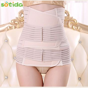 Sotida 3Pieces Set Maternity Postnatal Belt 2017 New After Pregnancy bandage Belly Band waist corset Pregnant Women Slim Shapers