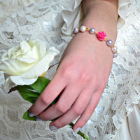 Rose Bracelet Bridesmaid Bracelet Flower Girl Bracelet Purple / Pink Pearl Bracelet Fuchsia Rose Bracelet Gold Jewelry- Handmade