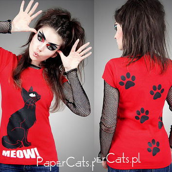 Tshirt Cat PAWS red kitty kawaii lolita