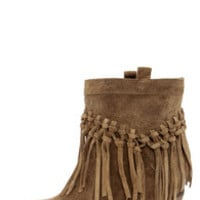 Sbicca Sound Khaki Suede Leather Fringe Boots