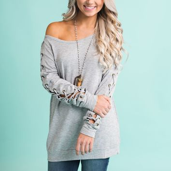Yale Lace Up Top (Heather Grey)