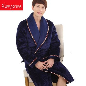winter luxury Thick velvet man pajamas quilted small lapel gown loose big size long winter bath robe Long sleeves free shipping