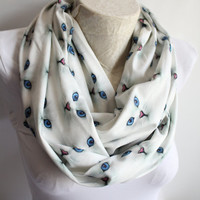 Cat Scarf , White Cat Scarf , Cat Print Infinity Scarf , Women Accessories , Gift for Her