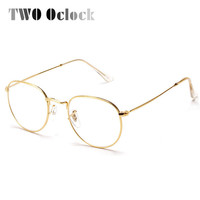 TWO Oclock Fashion Gold Metal Frame Eyeglasses For Women Female Vintage Glasses Clear Lens Optical Frames oculos de grau 3447