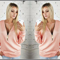 Deep V-neck Zipper Long Sleeves Casual Loose Bat-wing Sleeve Blouse