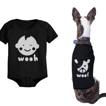 Wooh Baby Onesuits and Woof Dog Tshirts Cute Matching Pet and Infant Apparel
