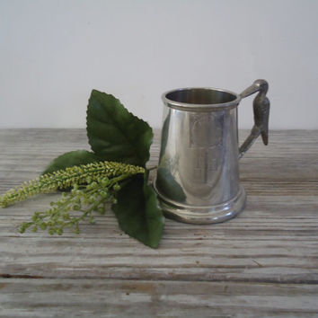 English Pewter Stork Handle Sheffield Pewter Tankard Childs Mug, Welcome a New Baby, Baby Shower Gift, Newborn Arrival