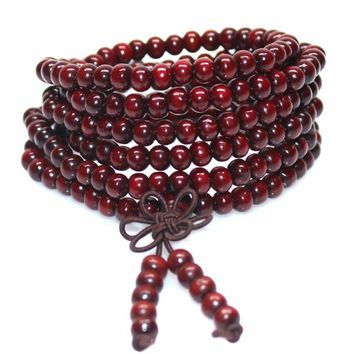 TOMTOSH 1pcs 6mm Natural Sandalwood Buddhist Buddha Meditation 108 beads Wood Prayer Bead Mala Bracelet Women Men jewelry