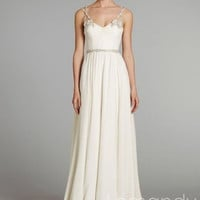 V neck A line chiffon wedding dress with spaghetti straps