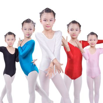 Children Long Sleeved Gymnastics Justaucorps Dance Costumes For Girls Leotard Ballet Costumes