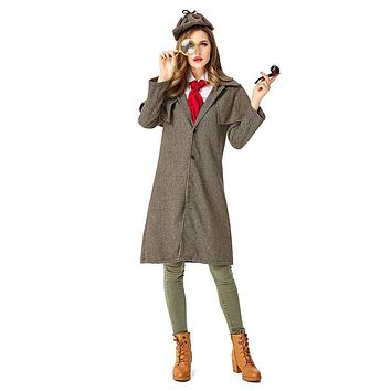 Sherlock Holmes Cosplay Costume Adult Women Halloween Carnival Party Costume