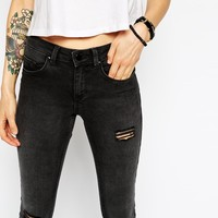 ASOS PETITE Whitby Low Rise Skinny In Gospel Wash With Ripped Knees And Thigh Rip
