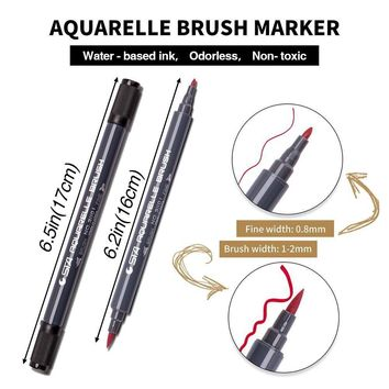 PuTwo Dual Brush Pens 12 Colours Dual Tip Art Markers Calligraphy Pen Watercolour Paint Brush Pen Set for Adult Colouring Books Bullet Journal Note Taking Drawing Planner Art Project