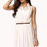 Chiffon Lace Shirt Dress w/ Belt
