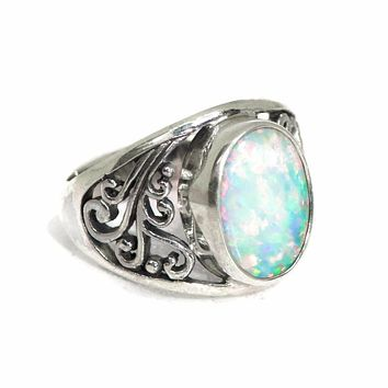 Sterling Silver Openwork Filigree White Created Opal Oval Ring