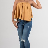 Mustard Ruffle Crop Top