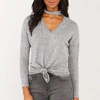 Ribbed Tie Front Top in Grey