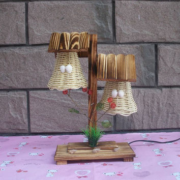 Vintage Wooden Desk Craft With Two Lamps Creative Household Adornment Bedroom Berth Lamp
