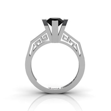 Modern Classic 14K White Gold 1.0 Carat Black Diamond Bridal Solitaire Wedding Ring Engagement Ring R1024-14KWGBD