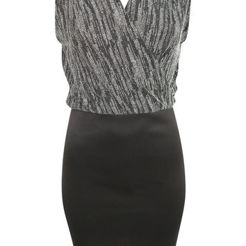 Amelie Sleeveless Metallic Crossover Dress in Black & Silver