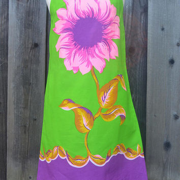 Fabulous House Dress, Mod Flower Power, Zip Up Front, Bold Print with Hot Pink and Purple Flower, Neon Green, Gilead, 1960s