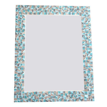 Aqua, Gray, Brown Mosaic Wall Mirror