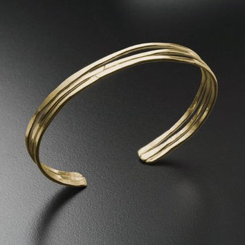 Hammered Cuff Bracelet in 14k Gold or Silver
