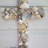 Seashell Cross on Reclaimed Wood/Beach Wedding Cross/Seashell Home Decor