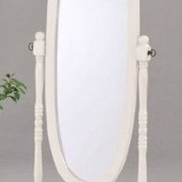 Legacy Decor Swivel Full Length Wood Cheval Floor Mirror, White New