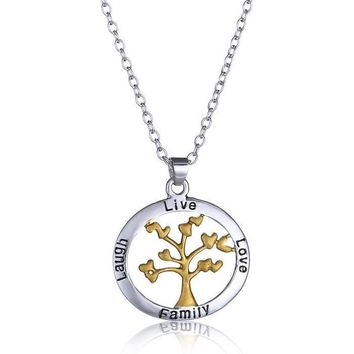 CLEARANCE - Live Love Laugh Family Tree Necklace