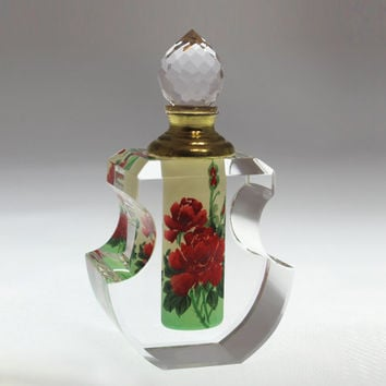 Red Rose Crystal Perfume Bottle - Hand-Painted Collectible, Parfum Bouteille, PBA04-475