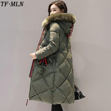 Winter Woman Jacket Parkas 2017 Large Real Fur Collar Coat High Quality Army Green Thick Jacket Hooded Fashion Warm Long Coats