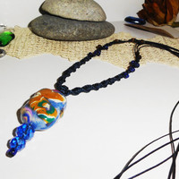 Clay necklace, Air dry clay pendant, Handmade jewelry, Macrame and clay, Polymer clay, Gifts for her, girlfriends, wife..., Unique jewelry