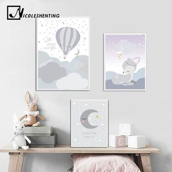 Cartoon Moon Deer Nursery Wall Art Canvas Posters and Prints Cute Painting Nordic Kids Decoration Picture Baby Living Room Decor