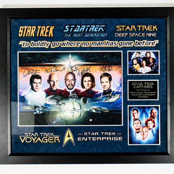 Star Trek The Captains - Signed Photo Collage Custom Framed