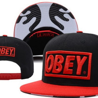 Obey Red Black Snapback