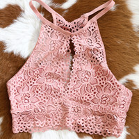 Lace High-Neck Bralette, Mauve