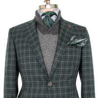 Isaia Green and Grey with Black Plaid Sportcoat