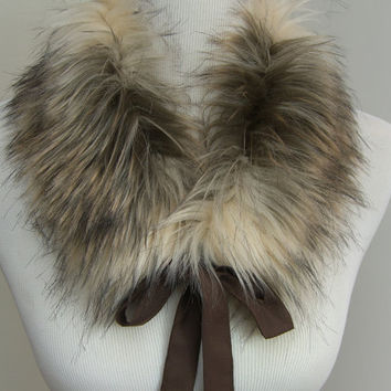Faux Fur COLLAR, Fur Scarflette with satin ribbon ties, Women's Fur Neckwarmer, Fur Collar