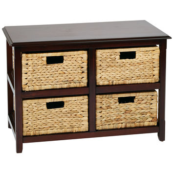 Office Star Seabrook Two-Tier Storage Unit With Espresso Finish and Natural Baskets [SBK4515A-ES]