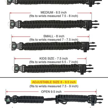 "A2S Protection Paracord Bracelet K2-Peak – Survival Gear Kit with Embedded Compass, Fire Starter, Emergency Knife & Whistle (Black / Orange 7.5"" for Kids)"