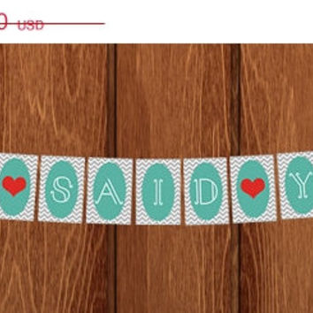 ON SALE PRINTABLE She Said Yes Bridal Shower Scallop & Chevron Banner for instant download!