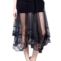 Elastic Waist Sheer Midi Lace Skirt