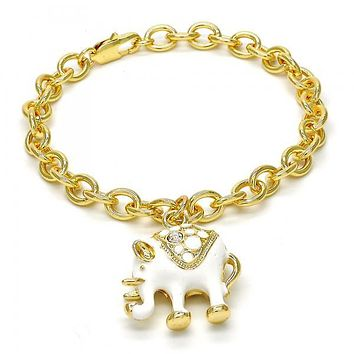 Gold Layered Charm Bracelet, Elephant and Rolo Design, with Crystal, Golden Tone