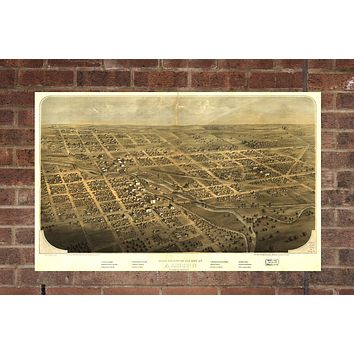 Vintage Albion Print, Aerial Albion Photo, Vintage Albion MI Pic, Old Albion Photo, Albion Michigan Poster, 1868