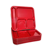 Red Texas Ware Lunch Trays Eight (8) Plastic Melmac Cafeteria Trays